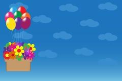 与气球和花的传染媒介例证 库存照片