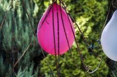 与气球和蛇纹石的室外党装饰 免版税库存图片