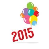 2015年与气球束庆祝概念 免版税库存图片