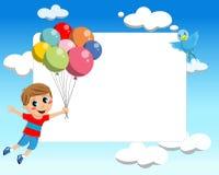 与气球框架的孩子飞行 库存图片