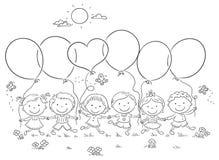 与气球概述的孩子 向量例证