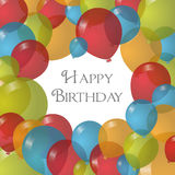 与气球的传染媒介例证生日快乐 免版税图库摄影