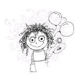 与气球的卷曲女孩剪影您的设计的 免版税图库摄影
