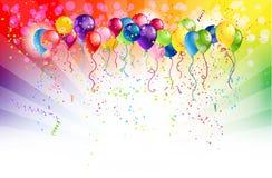 与气球的多彩多姿的背景 免版税库存图片