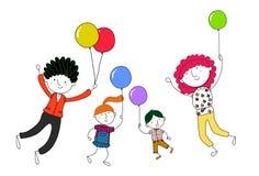 与气球的家庭 库存照片