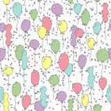 与气球的无缝的模式 库存图片