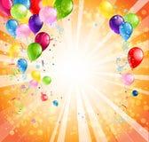 与气球的明亮的假日背景 免版税图库摄影