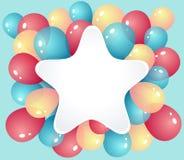 与气球的星框架 免版税库存图片
