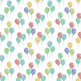 与气球的水彩无缝的样式,儿童的衣物的例证 库存例证