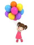 与气球的浮动孩子 库存图片