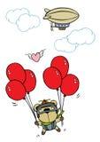 与气球的熊飞行 库存照片