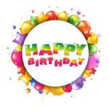 与气球的生日快乐五颜六色的看板卡 免版税库存图片