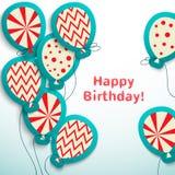与气球的生日快乐减速火箭的明信片 免版税库存照片