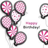 与气球的生日快乐明信片 免版税库存照片