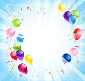 与气球的生日背景 免版税库存照片