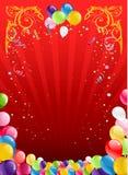 与气球的红色假日背景 免版税图库摄影