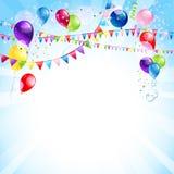 与气球的蓝色假日背景 免版税库存图片