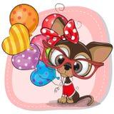 与气球的逗人喜爱的动画片小狗 库存图片