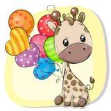 与气球的逗人喜爱的动画片长颈鹿 库存例证