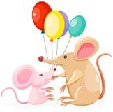 与气球的逗人喜爱的mouses 库存照片