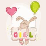 与气球的婴孩兔宝宝 免版税库存照片