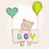 与气球的婴孩熊 库存图片