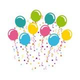 与气球空气党的生日庆祝 皇族释放例证