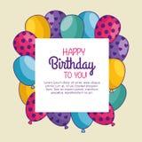 与气球装饰的生日快乐卡片 库存例证