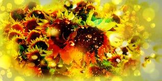 与水下落和bokeh覆盖物的向日葵 免版税图库摄影