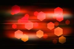 与水平的速度的红色抽象六角形背景排行 免版税库存图片