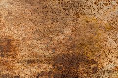 与水平铁锈的污点的金属纹理 免版税库存照片