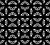 与水平,垂直的digonal线, seamleass样式的黑白六角抽象派 向量例证