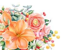 与水彩手拉的花束的美好的花卉设计 库存图片