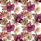 与水彩木槿花,设计元素的典雅的无缝的样式 邀请的花卉热带样式 库存照片