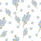 与水彩样式勿忘草的无缝的柔和的背景 美好的模式 夏天,逗人喜爱,天蓝色小的花 向量例证