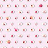 与水彩桃红色的无缝的样式在圈子开花 库存照片