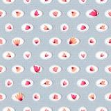 与水彩桃红色的无缝的样式在圈子开花 免版税库存照片