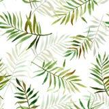 与水彩热带叶子的无缝的样式 库存照片