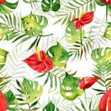 与水彩热带花和叶子的无缝的样式 免版税库存图片
