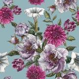与水彩牡丹、曼陀罗花、大丽花和郁金香的花卉无缝的样式 库存照片