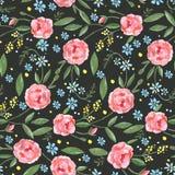 与水彩玫瑰、叶子、分支和小蓝色花的无缝的样式 皇族释放例证