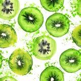 与水彩的Qiwi切片无缝的手凹道艺术样式飞溅 夏天果子qiwi与绿色回合的重复背景 免版税库存图片