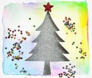 与水彩纸的圣诞树和星闪烁,递 免版税库存照片