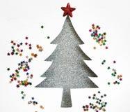 与水彩纸的银色圣诞树和星闪烁 图库摄影