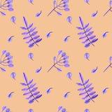与水彩羽毛和花的水彩样式在白色背景 非常合适为打印在织品 颜色丁香 免版税库存照片