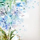 与水彩花束的花卉背景 库存照片
