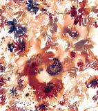 与水彩花的无缝的夏天样式 免版税库存图片