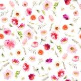 与水彩花的无缝的夏天样式 免版税库存照片