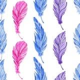 与水彩蓝色的无缝的样式,桃红色,紫色羽毛 Boho样式 库存例证