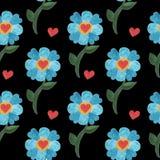 与水彩蓝色逗人喜爱的花的无缝的样式与心脏 免版税图库摄影